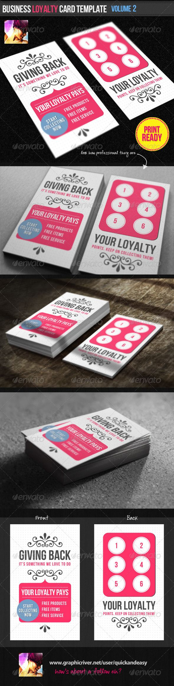 Business Loyalty Card Template Vol.2 | Loyalty cards, Card templates ...