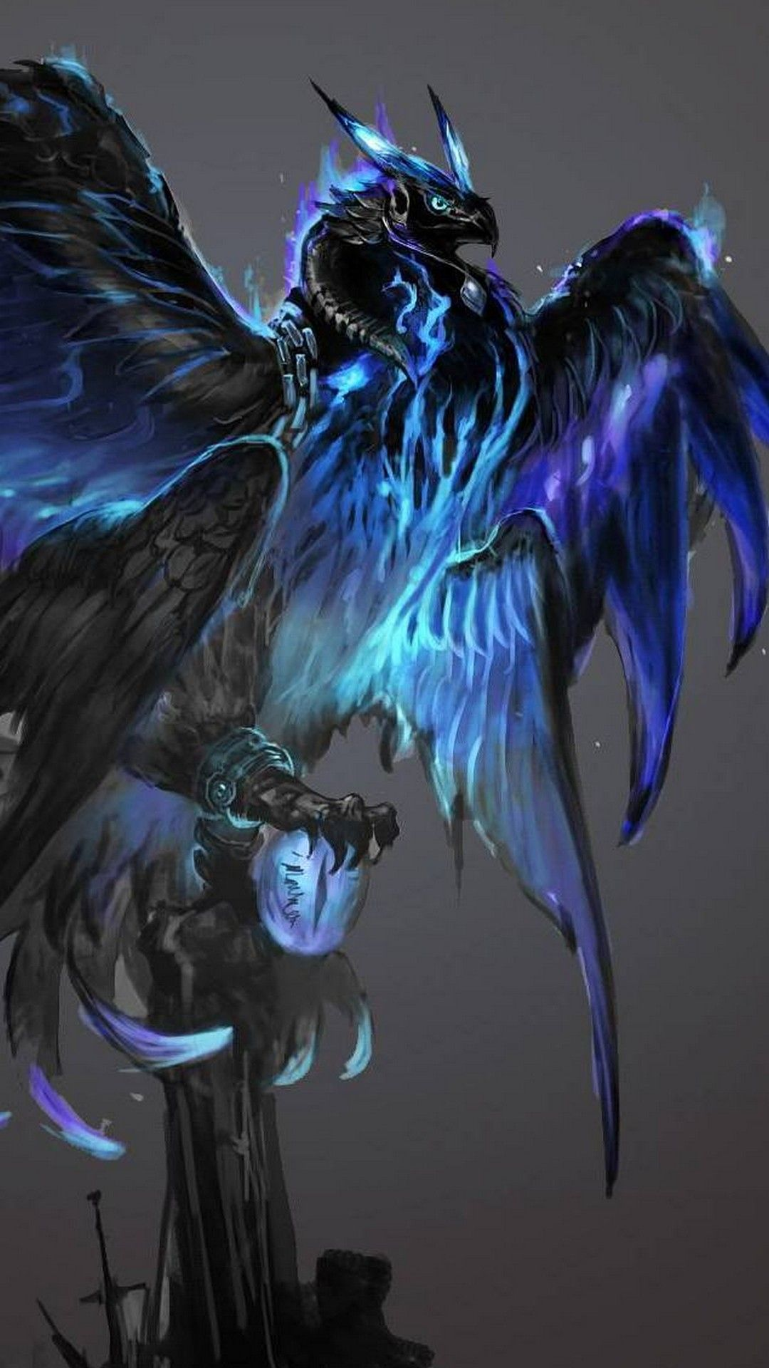 Ice Phoenix Wallpaper For iPhone Mythical creatures art
