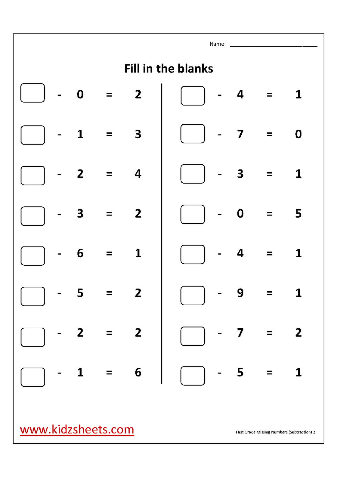 First Grade Missing Numbers