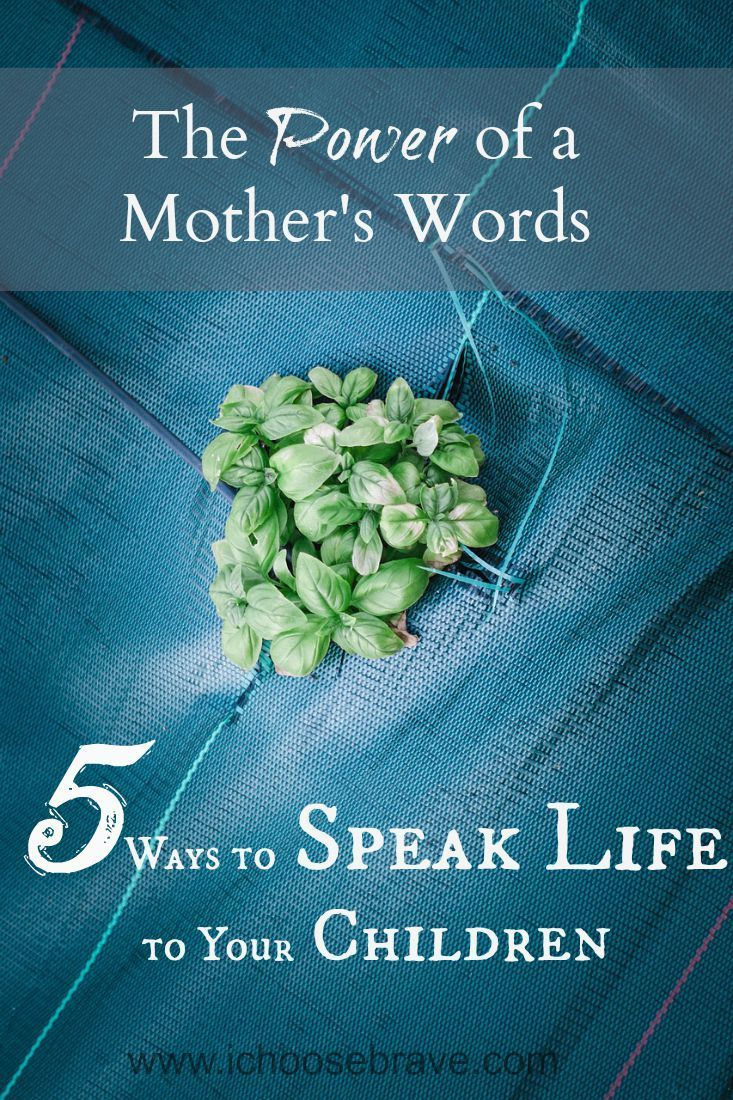 Power of a Mother's Words What we speak to our kids now becomes the inner voice they'll hear for years to come. Let's speak life!What we speak to our kids now becomes the inner voice they'll hear for years to come. Let's speak life!