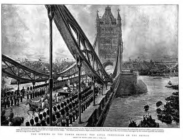 The Opening of Tower Bridge with the Royal Procession.