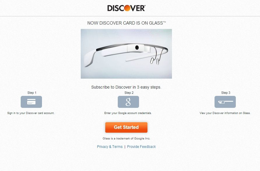 "Discover's Google Glass app helps users to view ""their current account balance, available credit, cash back bonuses and the last 16 transactions"