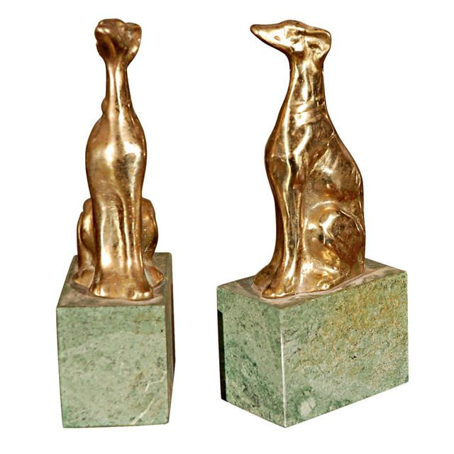 Vintage Brass and Granite Bookends