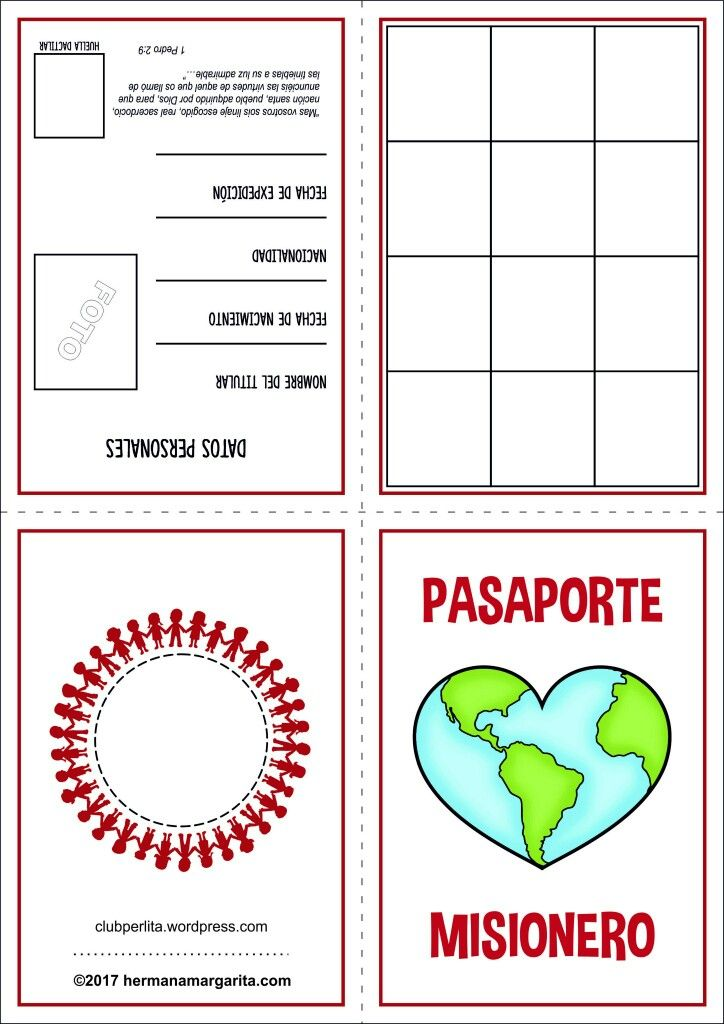Pasaporte Misionero Manualidades De La Biblia Para Ninos Escuela Dominical Para Ninos Misiones Cristianas