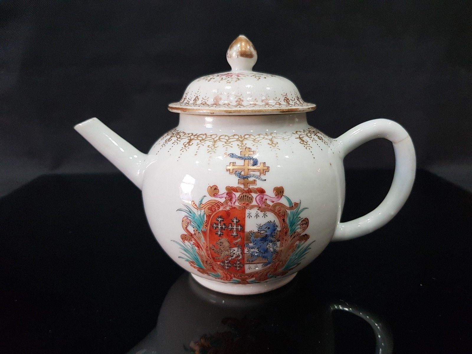 Very Rare Chinese 18th C Qianlong Period Famille Rose Armorial Crest Teapot Asking 1000 U K 2018 Teteras Vajillas