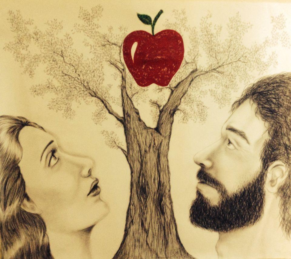 آدم وحواء مع شجرة التفاح رسمتي Art Painting
