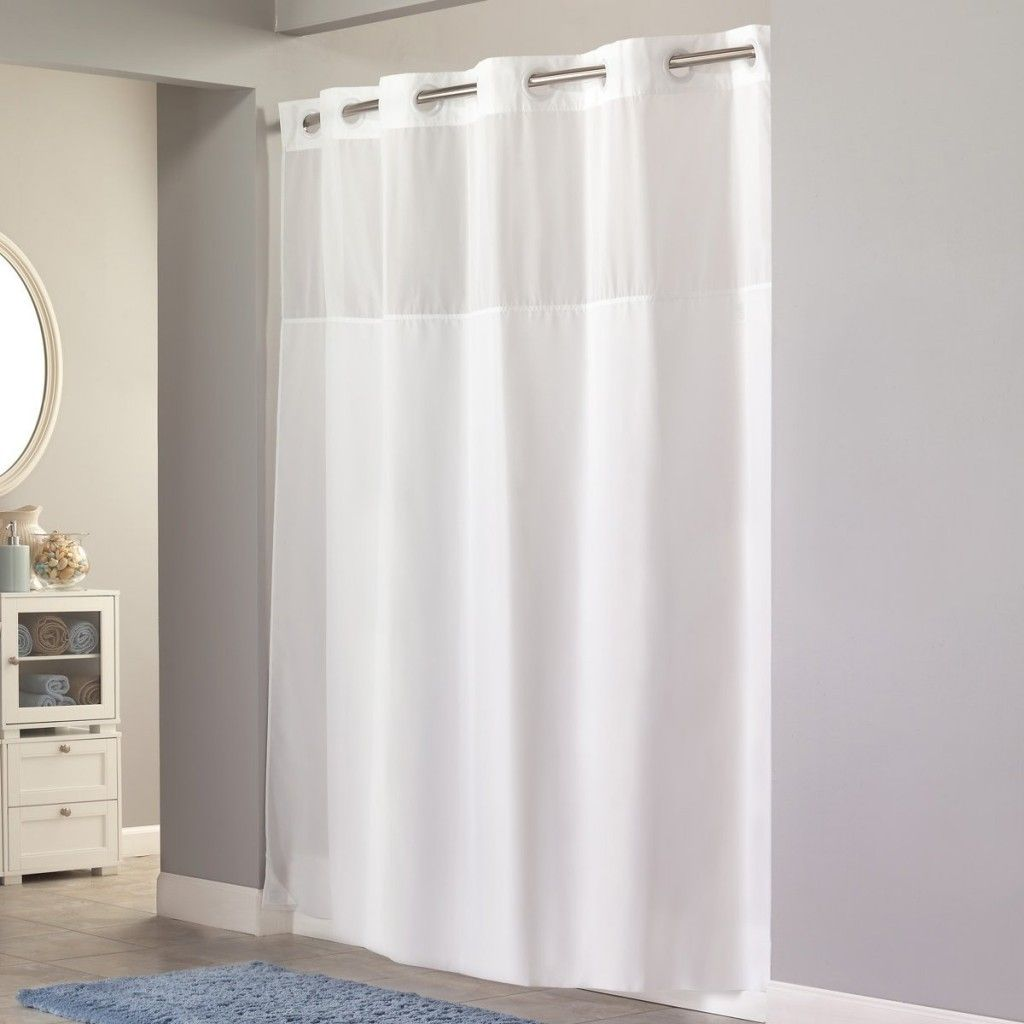 White Vinyl Hookless Shower Curtains Design Ideas For Extra Wide