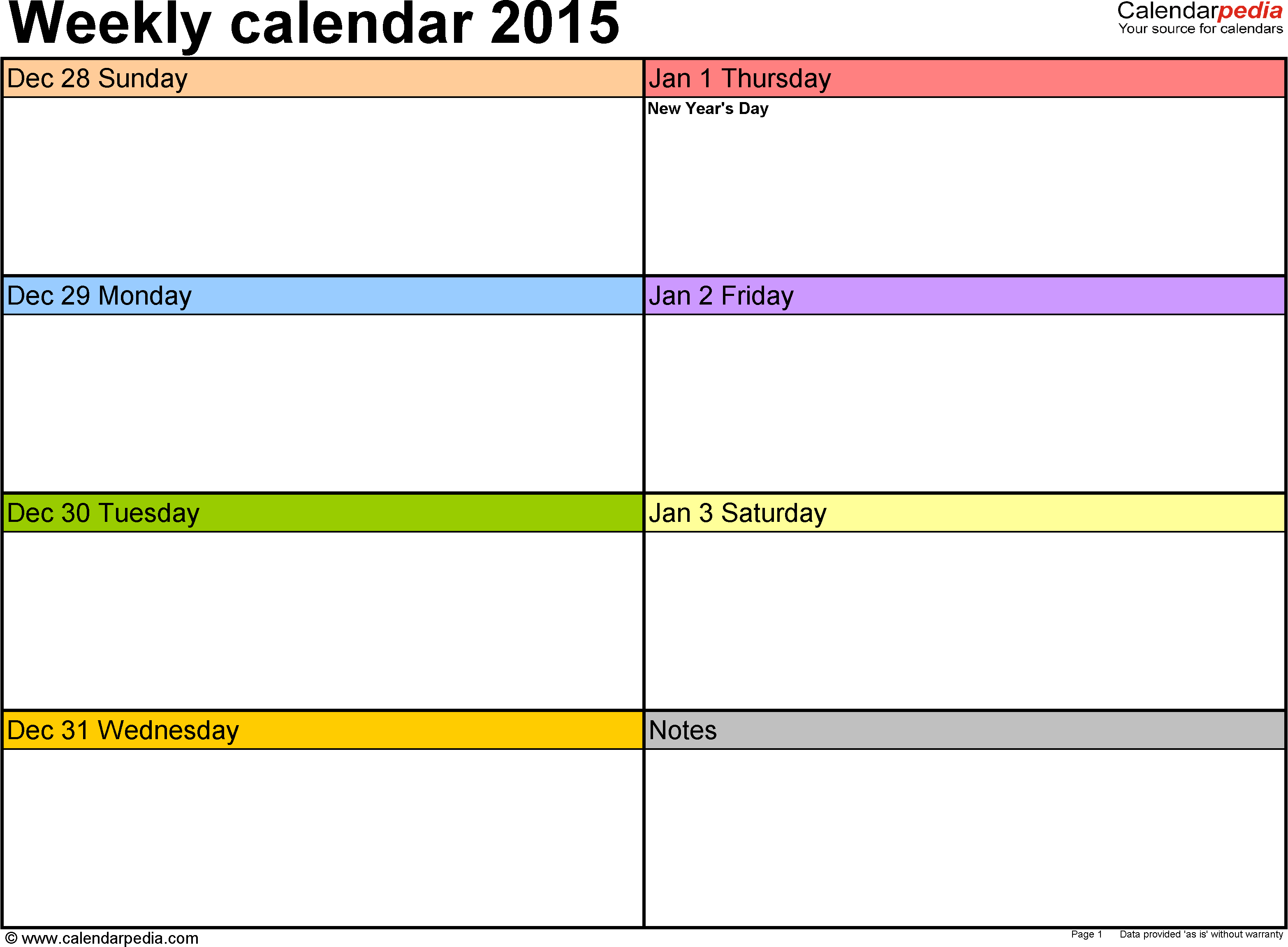 Weekly Calendar 2015 Template For Pdf Version 1 Landscape 53
