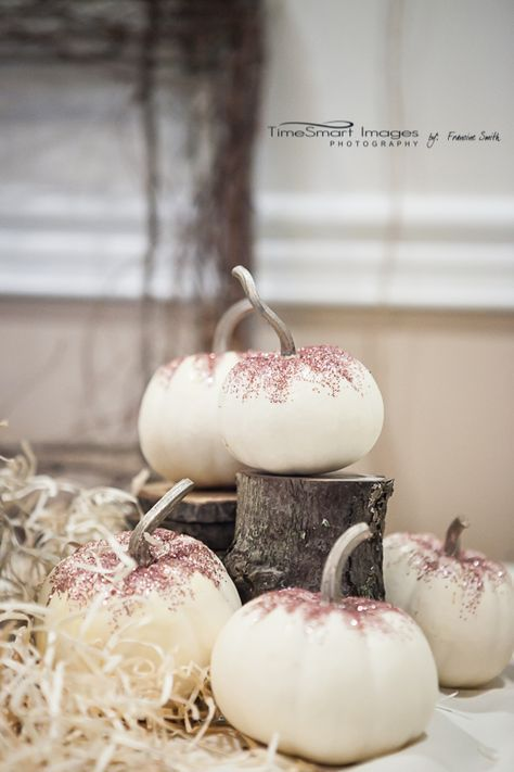 Laura's Baby Shower_My Little Pumpkin Theme_White Pumpkins_Blush Dusting of sparkle