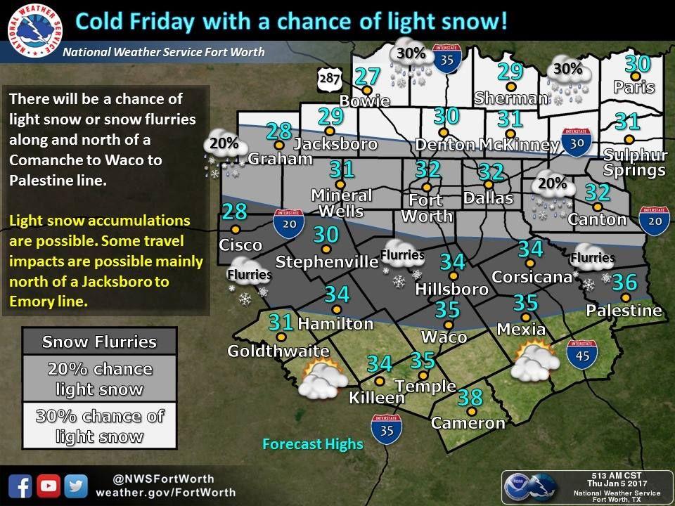 Burrr cold friday slight chance of snow paris texas