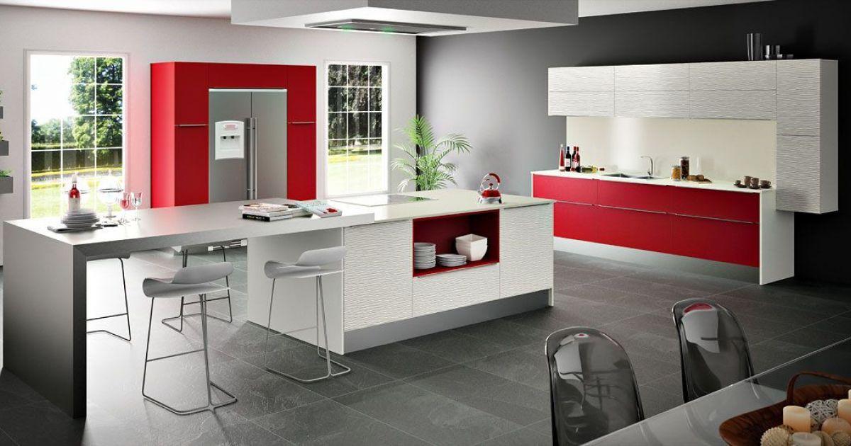 Cuisine Dubaï-Modum par Sagne Cuisines rouge et blanche   wwwm - Cuisine Design Avec Ilot Central