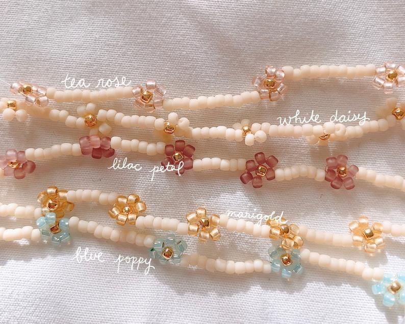 Pastell Gänseblümchen Perlen Armband / Gänseblümchen Kette | Etsy