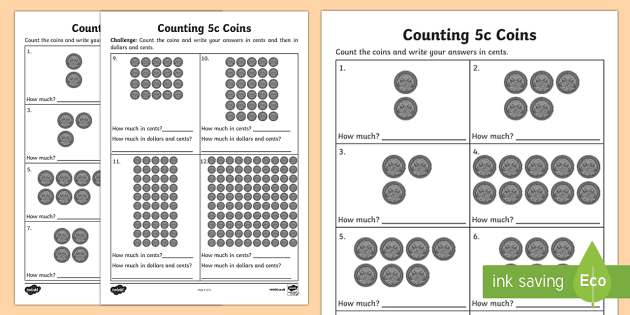 counting 5c coins activity sheet australian currency money currency counting worksheet. Black Bedroom Furniture Sets. Home Design Ideas