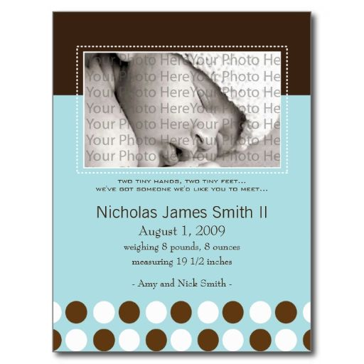 Baby Birth Announcement Blue with Chocolate Dots Postcards