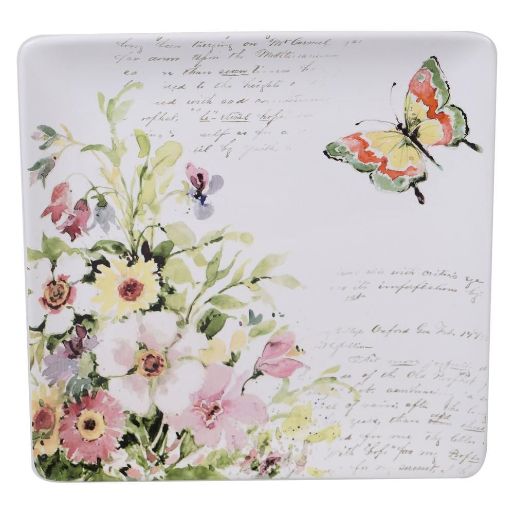 Certified International Spring Meadows Multi-Colored 12.5 in. Earthenware Square Platter-26636 - The Home Depot