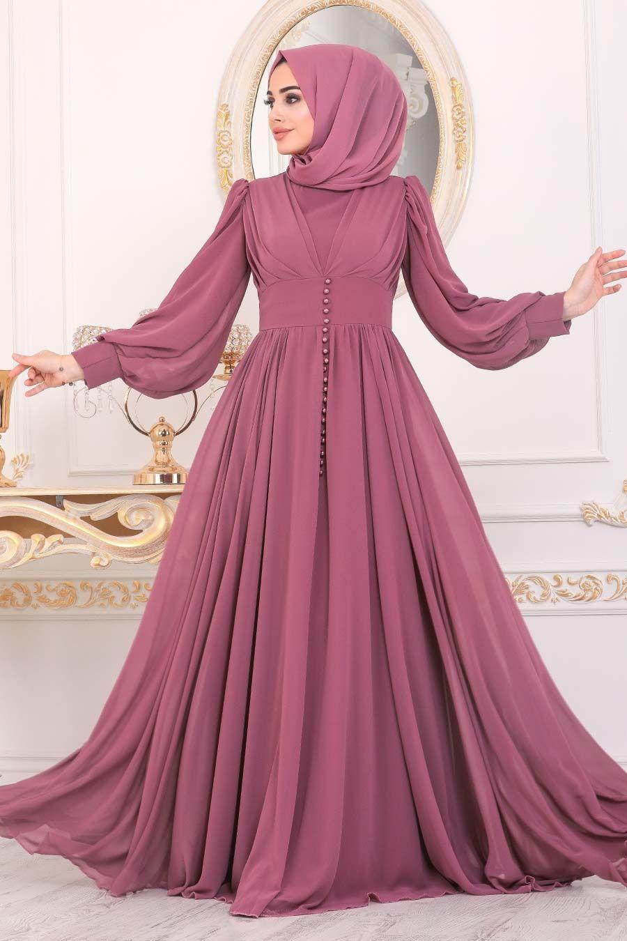 Tesetturlu Abiye Elbise Dugme Detayli Gul Kurusu Tesettur Abiye Elbise 41011gk Tesetturisland Com 2020 Aksamustu Giysileri The Dress Elbise