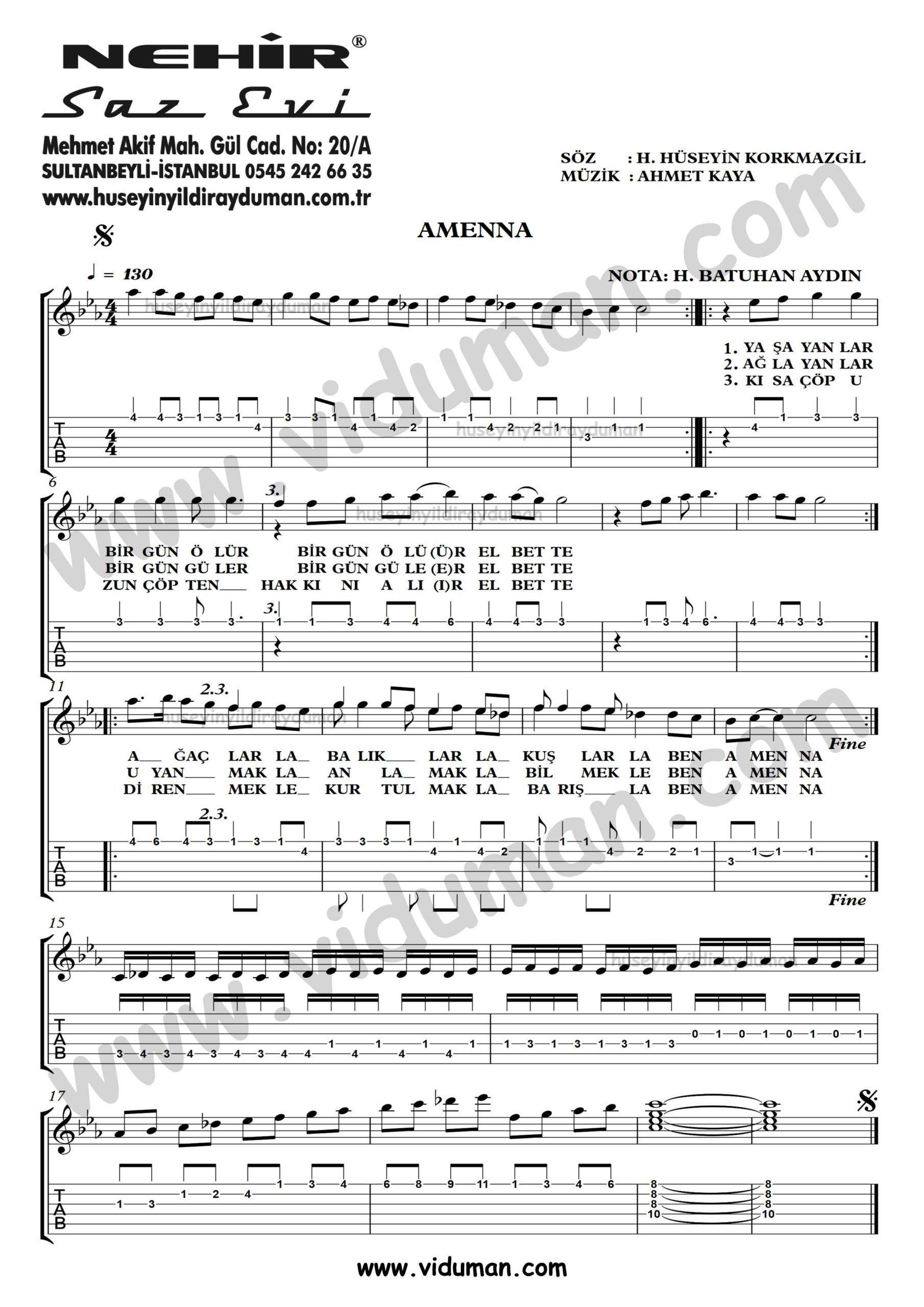 Amenna Ahmet Kaya Gitar Tab Solo Notalari Gitar Martini