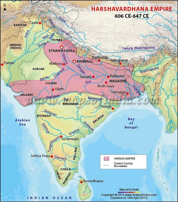 Harshavardhana Empire Map 606 647 AD