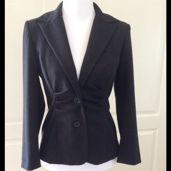 Kay Unger Black Gathered Waist Jacket Beautiful condition.  Has some stretch and is very comfortable.  Great with jeans. Kay Unger Jackets & Coats Blazers