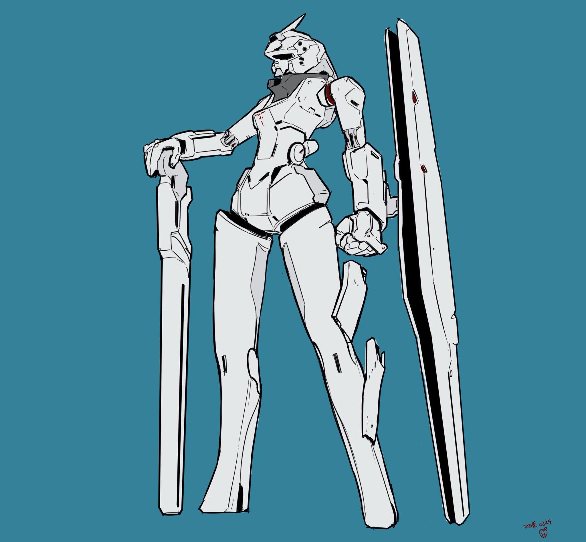 moi on twitter humanoid sketch twitter mecha