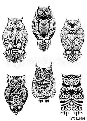 Tribal Owl Birds Set Geometric Owl Geometric Owl Tattoo Tribal Owl Tattoos