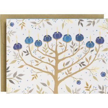 Gold Foil Menorah Holiday Cards