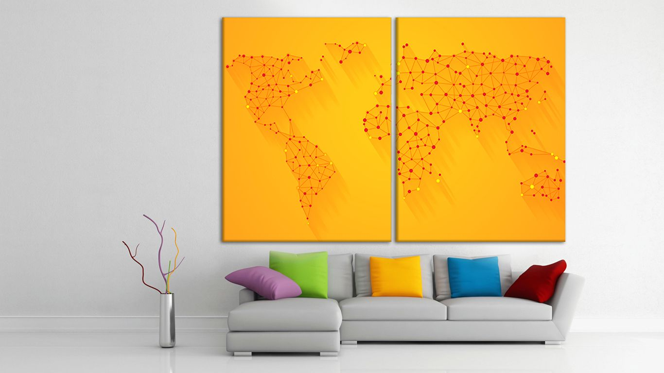 wall decor world map art, travel map push pin, world map push pin ...