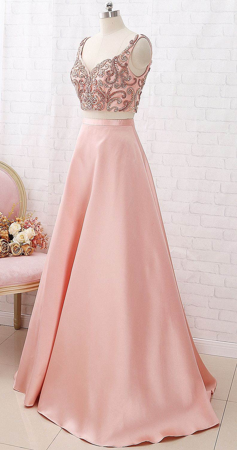 38fb106a005f MACloth Two Piece V Neck Beaded Satin Peach Prom Dress Formal Evening Gown # dress #