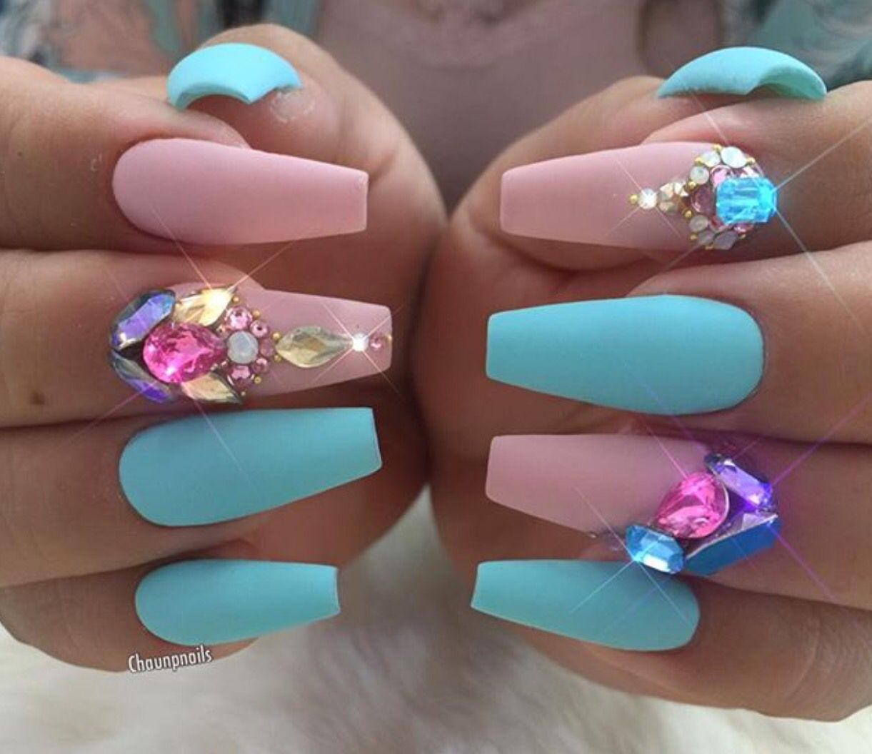 bright aqua & pastel pink nails