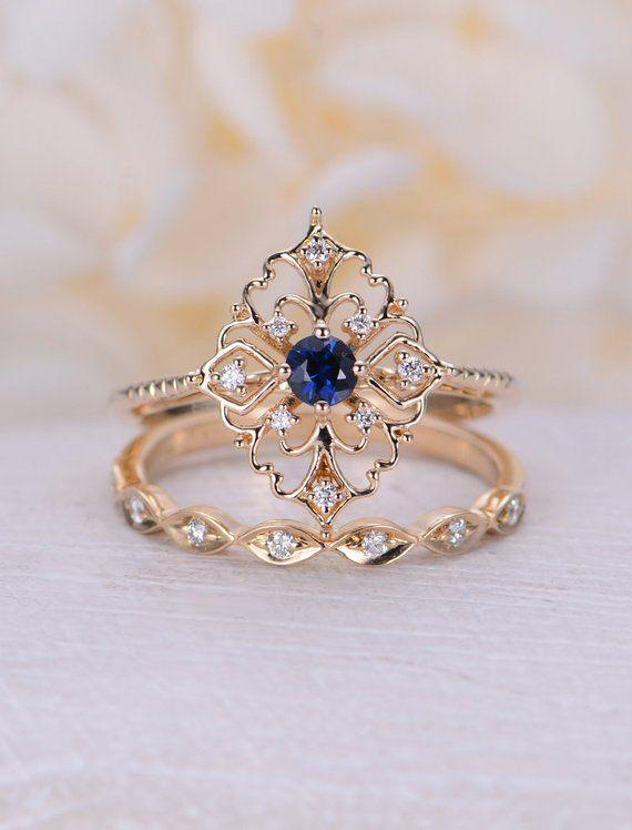 Natürliche Saphir Verlobungsring Vintage Verlobungsring 14 k rose gold Ring Runde geschnitten einzigartige Diamant Ehering Braut Jahrestag