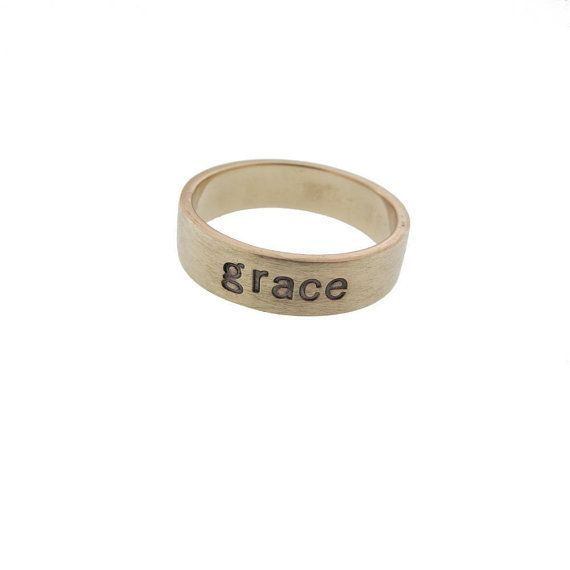 Personalized Solid 14K Gold Ring Hand Stamped Vows Wedding Band Custom Engraved Commitment Ring Artisan Handmade Fine Designer Jewelry