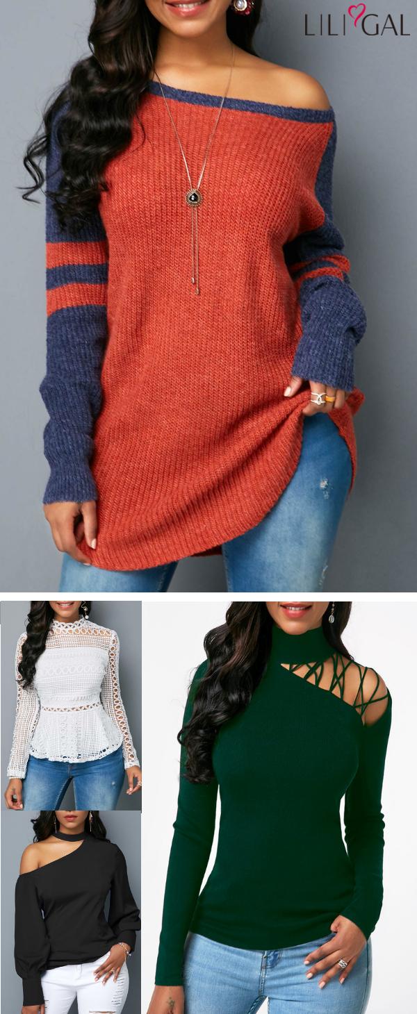 cde9fefff classic fashion fall tops for women  orange scoop neck long sweater ...