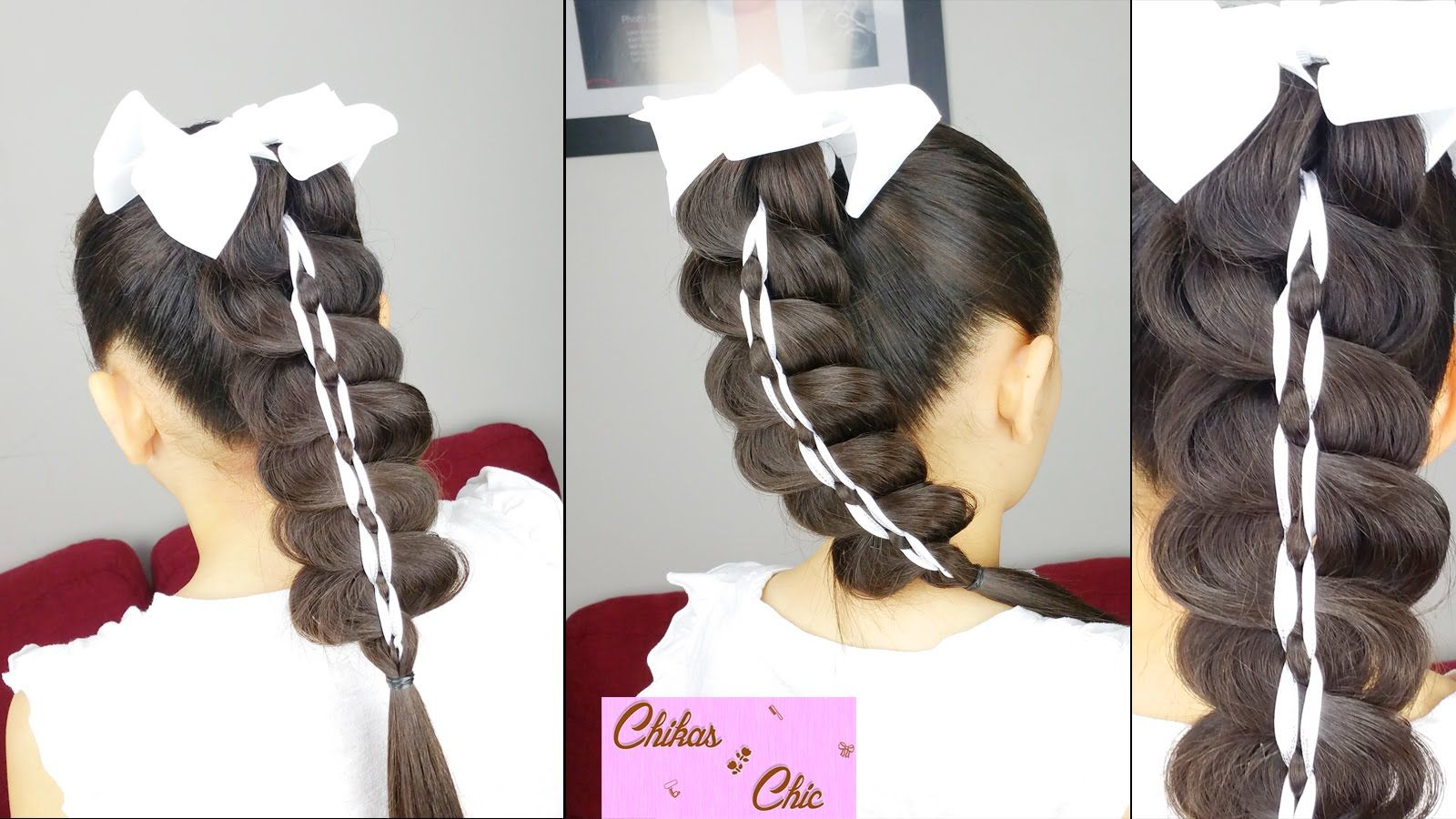 Cola Trenzada Con Cinta - Braided Ponytail   Peinados Faciles y Rapidos ...