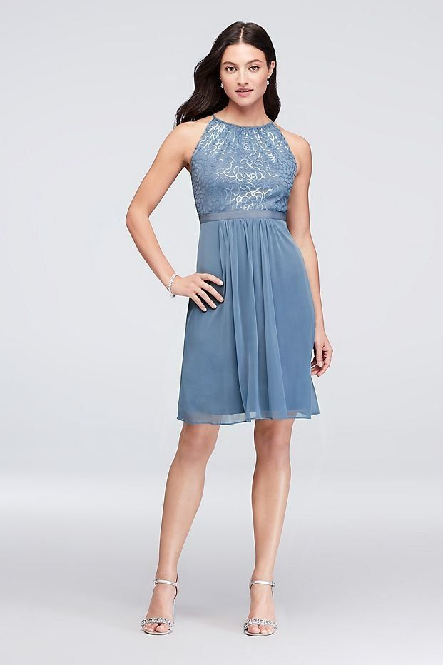 dd303e9436 A slate blue High-Neck Sequin and Mesh Short Bridesmaid Dress by Reverie  available at David s Bridal