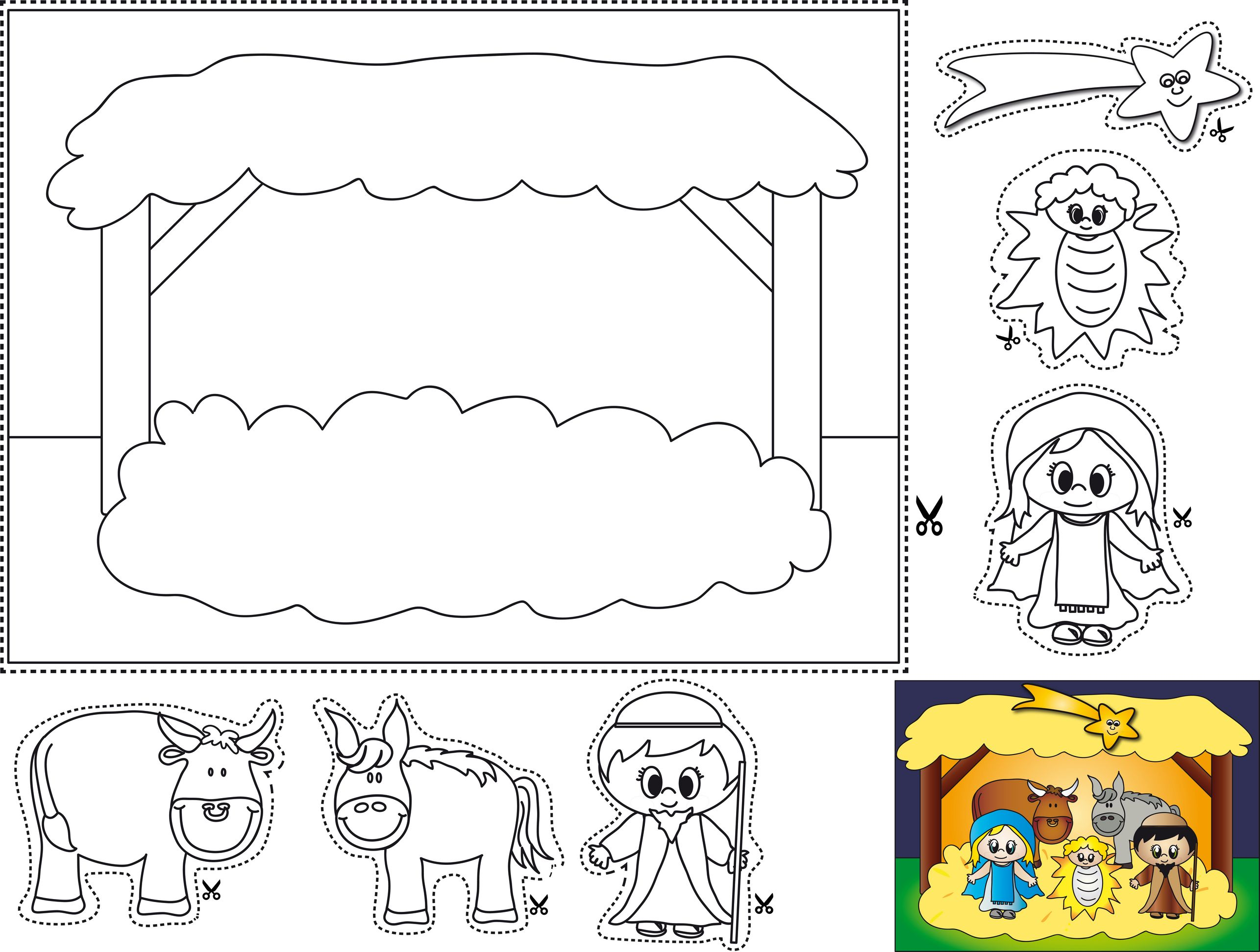 Cut And Paste Manger Coloring Page Christmas Theme Pinterest