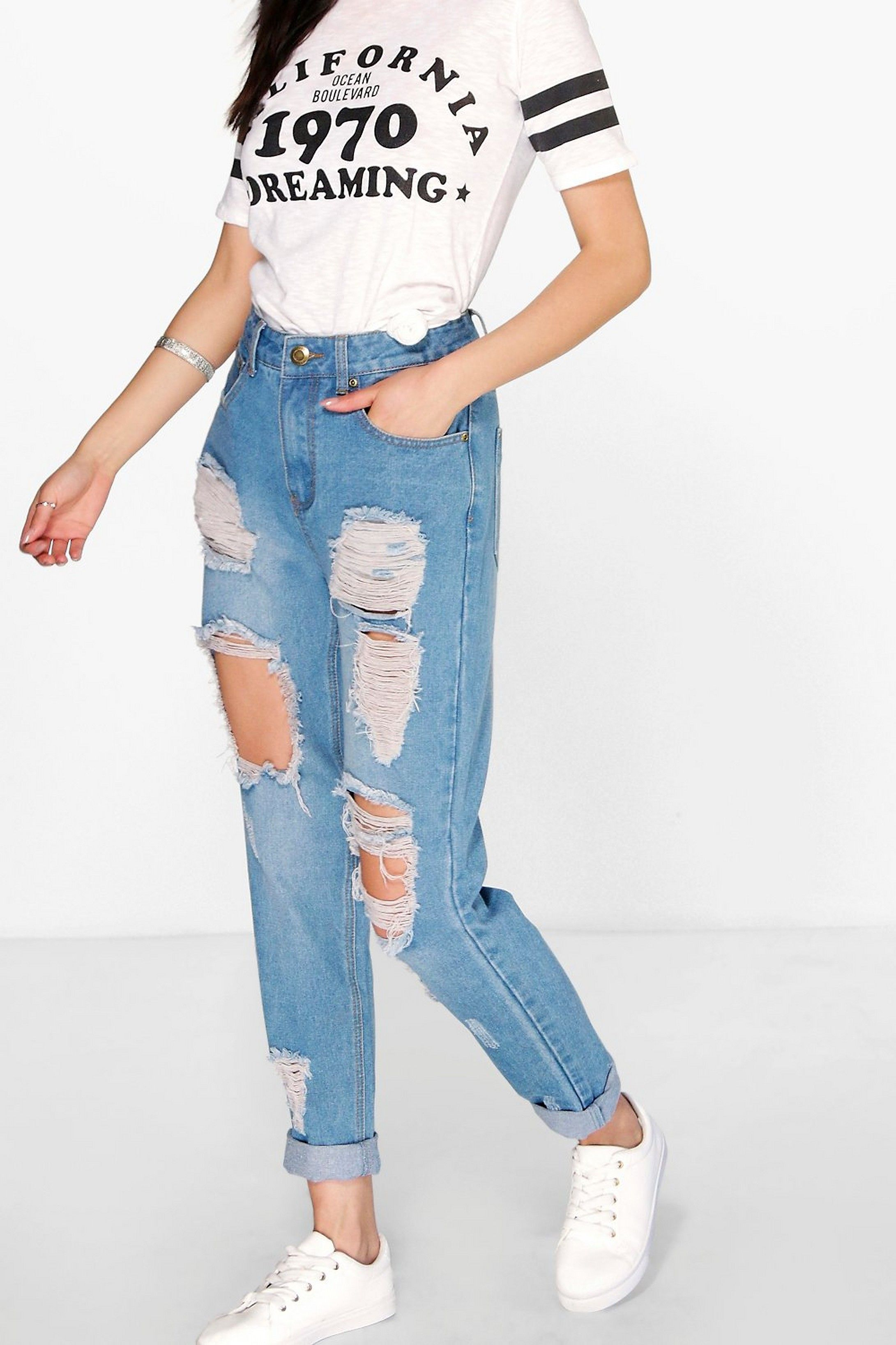 High waist light wash distressed mom jeans boohoo