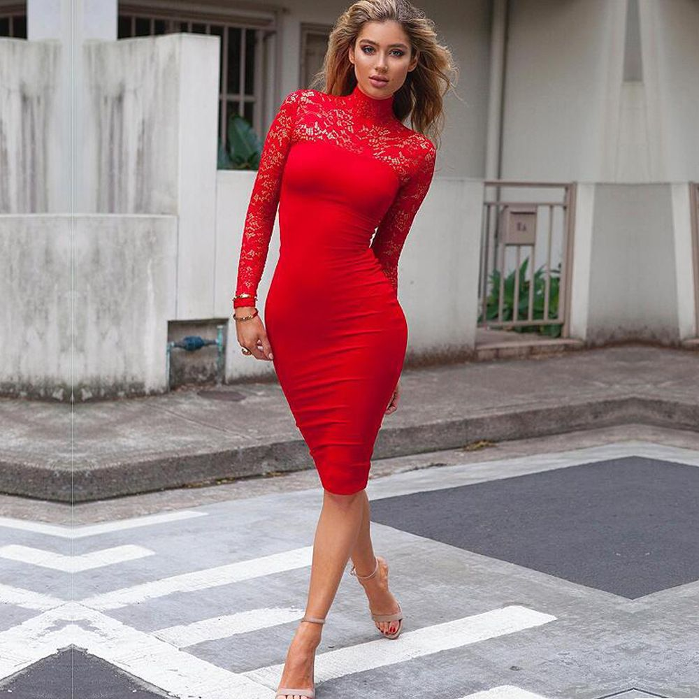 13dbcc649cfd Sexy Women Lace Dress Autumn Winter Long Sleeve High Neck Bodycon Dress  Black Club Dress Red Party Dress   victoriaswing