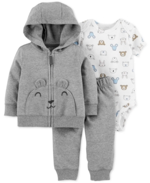 Carter s Baby Boys 3-Pc. Cotton Bear Hoodie f2be7557d
