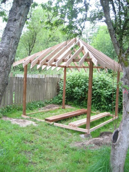 Building A Gazebo In My Back Yard A 10 X10 Square 4 Hip Roof And I Wanted To Put Cedar Shingles On It However I Don Backyard Backyard Patio Designs Gazebo