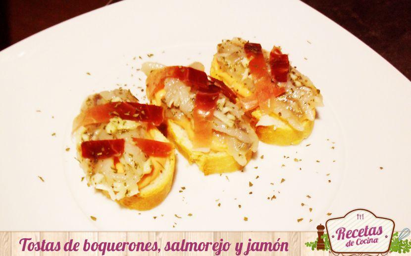 Tostas de boquerones en vinagre, salmorejo y jamón Receta:http://www.lasrecetascocina.com/2014/05/12/tostas-de-boquerones-en-vinagre-salmorejo-y-jamon/