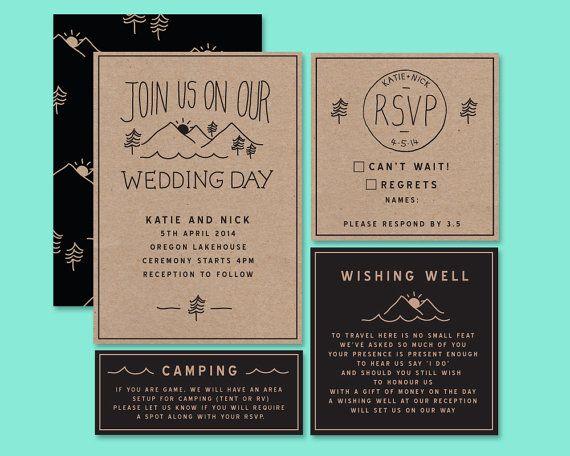 Camping Wedding Invitations: Rustic Wedding Invitation Woodsy Wedding Invite By