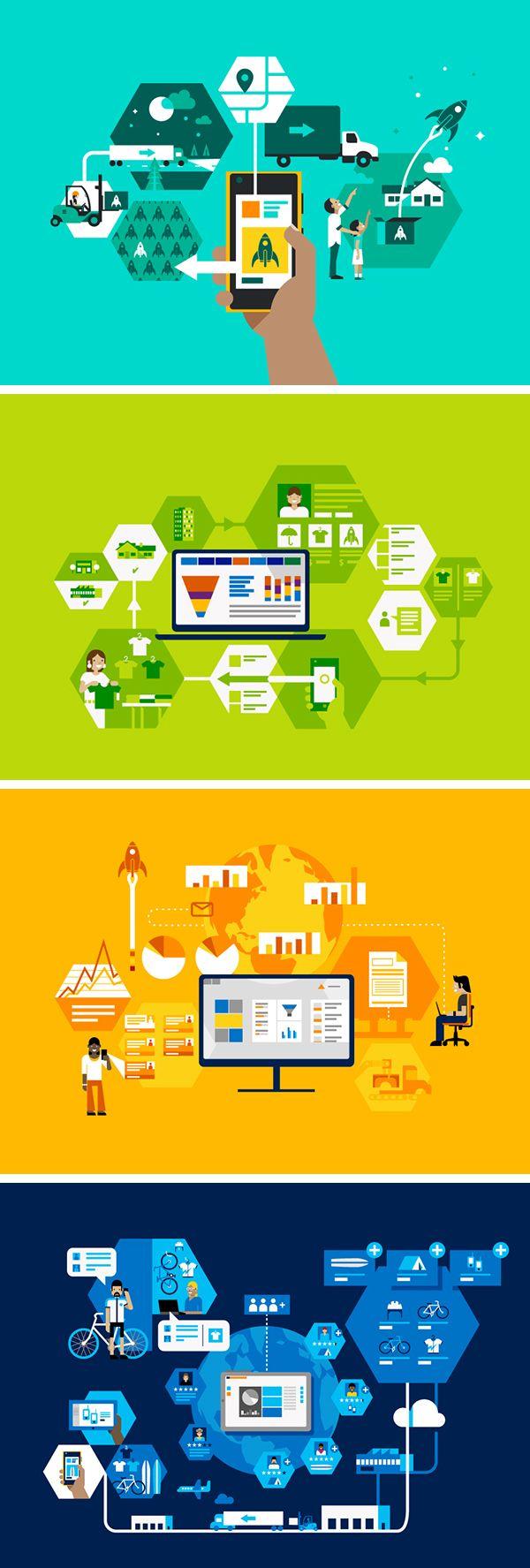 Microsoft Dynamics Illustrations Desain grafis, Desain