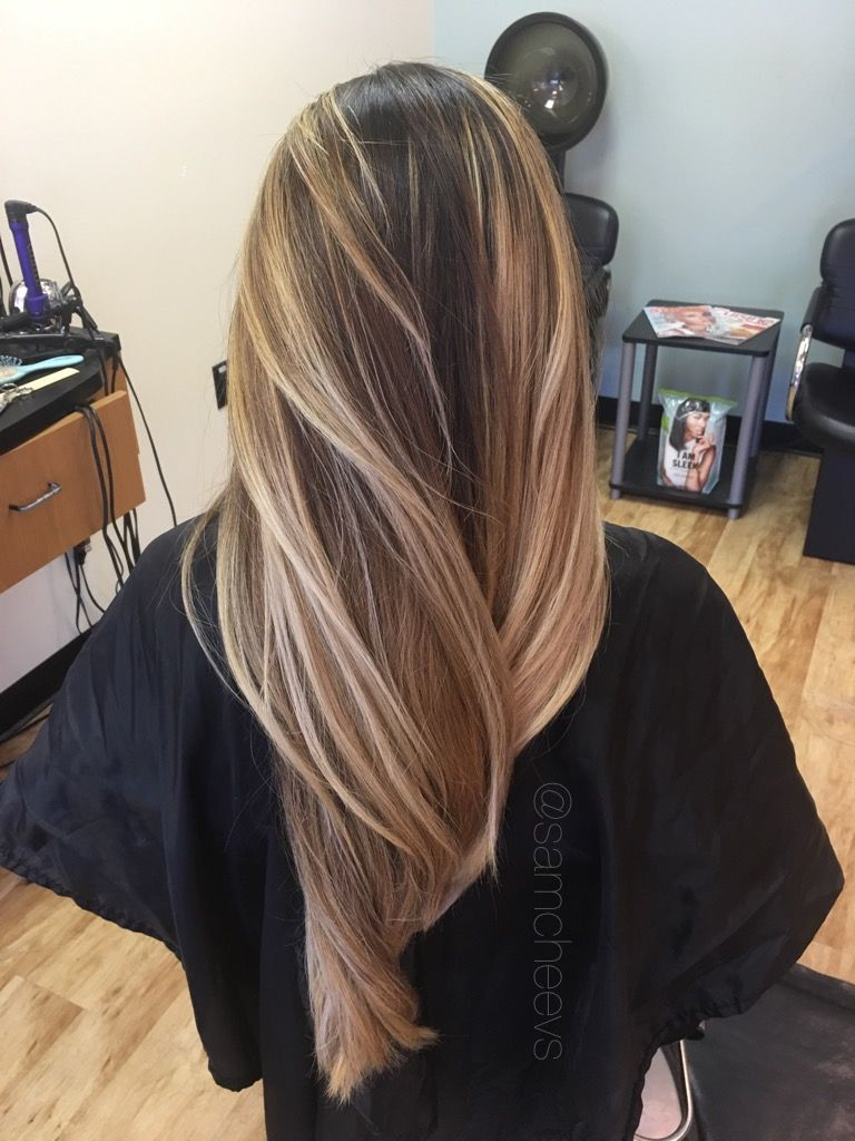Warm Golden Honey Sandy Platinum Medium Blonde Balayage Ombre Highlights For Long Dark Brown Blac Long Hair Styles Blonde Ombre Balayage Haircuts For Long Hair