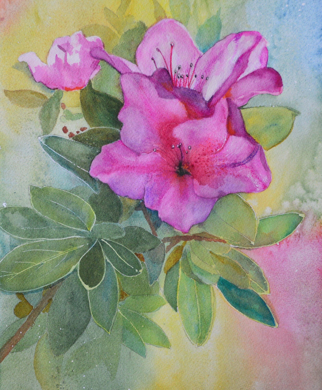 Pink Flower Home Decor Fine Art Watercolor Painting Original Pink Azaleas Floral Wall Art Interior Decor In 2020 Flower Art Fine Art Painting Watercolor Flower Art