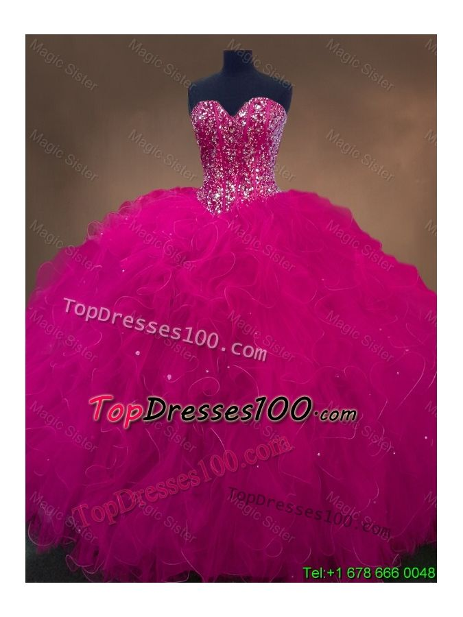 Luxurious Sweetheart Beaded Quinceanera Dresses in Hot Pink - US ...