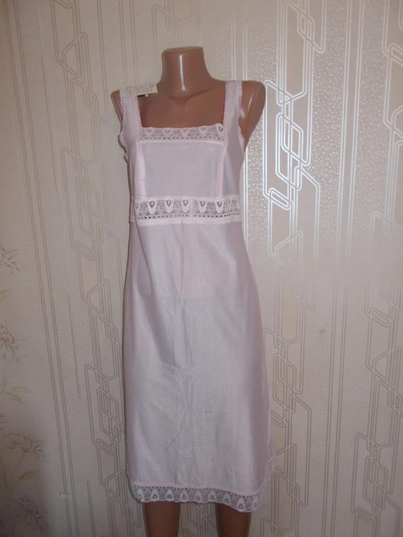Vintage Night Gown Small Size White Vintage Slip Soviet Lingerie