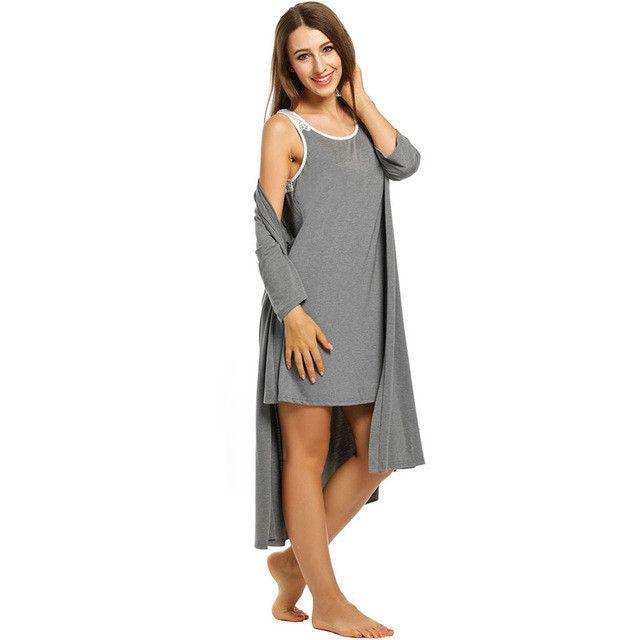 Womens Gown Sets Solid Loose V Neck Long Robe Sleepwear Self Belt ...
