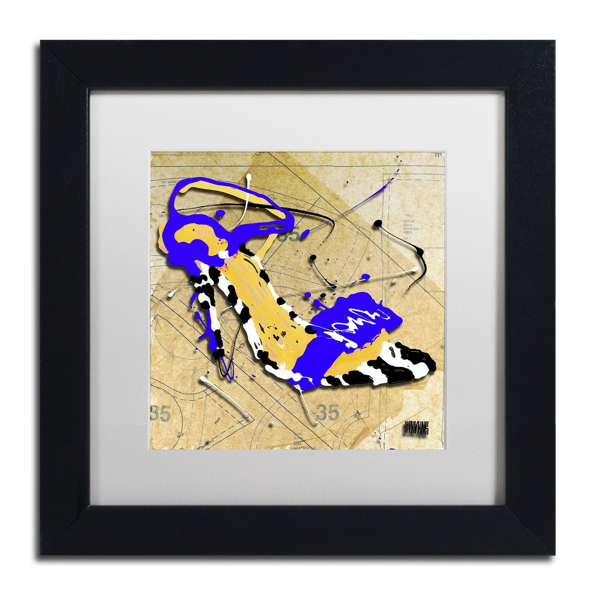Zebra Heel Blue by Roderick Stevens Matted Framed Graphic Art ...