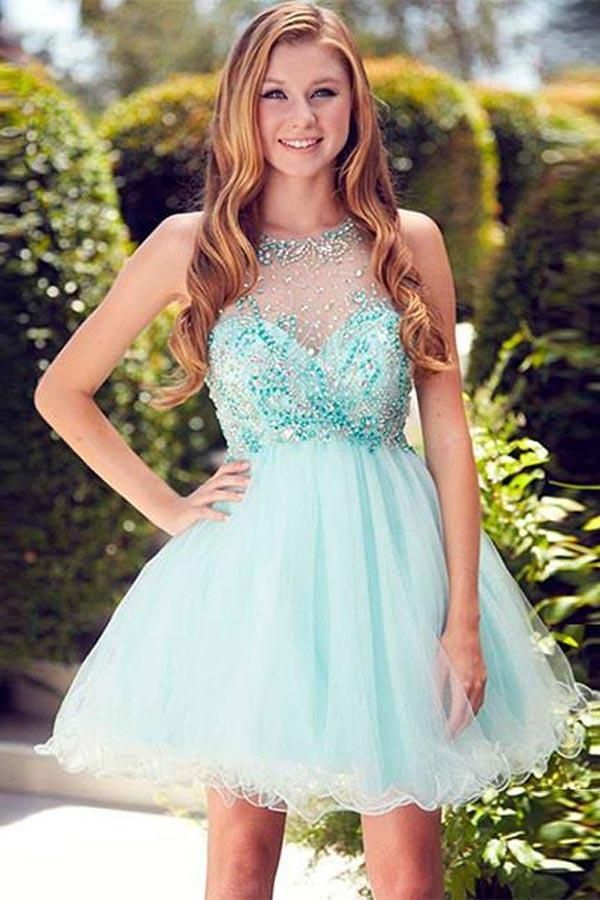 Outlet Suitable Prom Dress Wedding Dresses Cute Round Neck Tulle ...