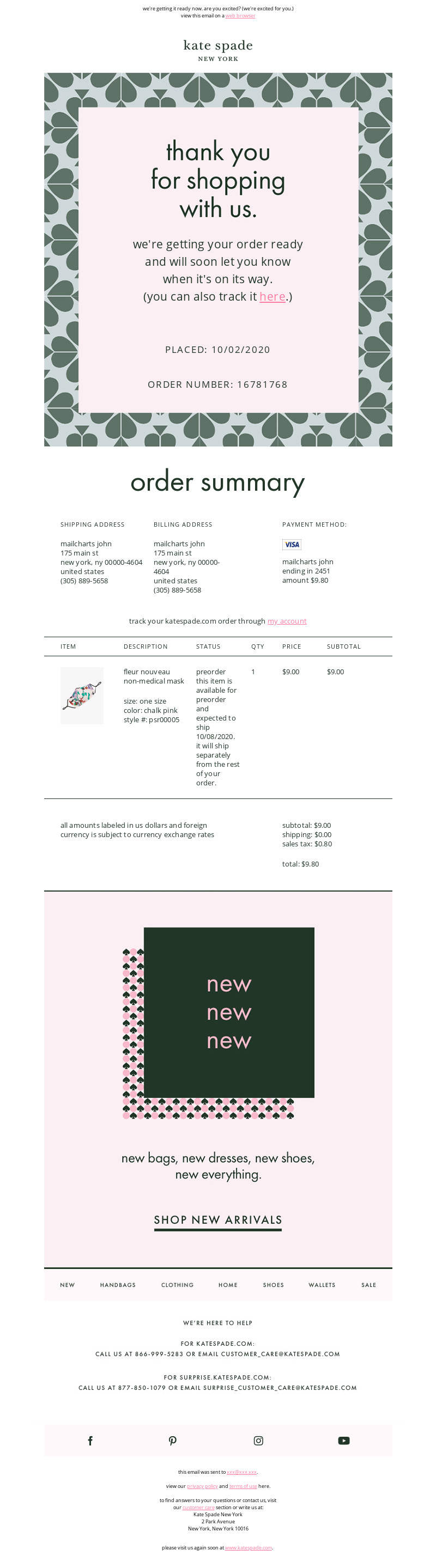 Email From Kate Spade New York Confirmation Email Template Triggered Email Order Confirmation Email